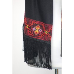 Cross-stitch  Scarf with tassles -Red