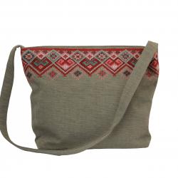 Cross -Stitch Hand-Woven Bag - Pink
