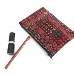 Cross-Stitch Makeup Bag - Red