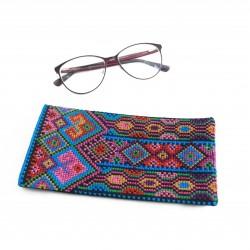 Cross Stitch Eyeglass Case - Blue Diamonds