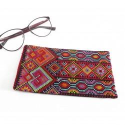 Cross-Stitch Eyeglass Case - Red Diamonds