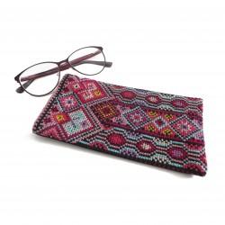 Cross-Stitch Eyeglasses Case -Pink
