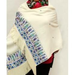Cross-Stitch Shawl Rectangle Beige - Purple Sarou