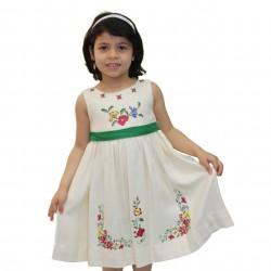Cross-Stitch Dress with Green Belt