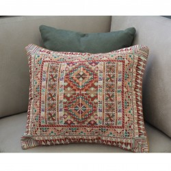 Cross-Stitch  large Pillow - Beige and Brown