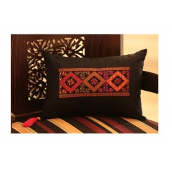Cross-Stitch Small Pillow - Pink Red