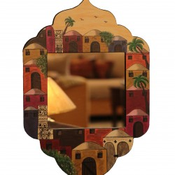 Large  Hand-Painted Kariya Mirror