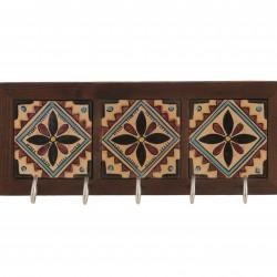 Wooden/ Ceramic Arabesque Key holder