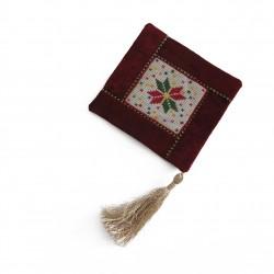 Cross-Stitch Christmas Coaster - Velvet Red