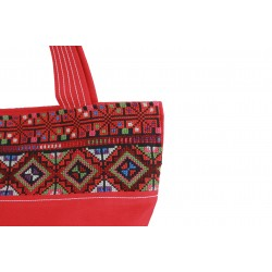 Hand-Woven Fufu Bag with embroidery red