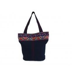 Hand-Woven Fufu Bag with embroidery Indigo