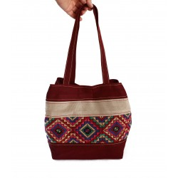 Hand-Woven Elegant Bag With Embroidery vinous
