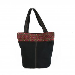 Hand-Woven Fufu Bag with embroidery -Black