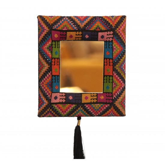 Cross-Stitch Mirror with PInk Beads