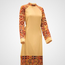 Cross-Stitch Traditional Dress Short Beige Dress