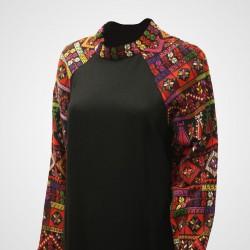Cross-Stitch Traditional Dress Short Black Dress
